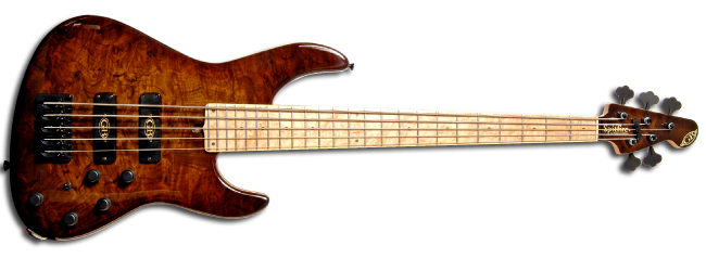 GB Spitfire � 5 in Black American Burr Walnut with blistered Maple neck